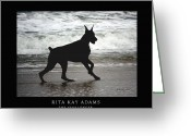 Doberman Greeting Cards - The Challenger Greeting Card by Rita Kay Adams