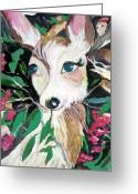 Peace Drawings Greeting Cards - The Christmas Deer Greeting Card by Mindy Newman