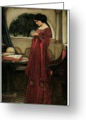 John William Waterhouse Greeting Cards - The Crystal Ball Greeting Card by John William Waterhouse