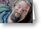 Celebrities Painting Greeting Cards - The Dude Greeting Card by Tom Roderick