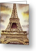Watercolor By Irina Greeting Cards - The Eiffel Tower  Greeting Card by Irina Sztukowski