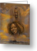 African American Female Greeting Cards - The Faces of God Greeting Card by Gary Williams