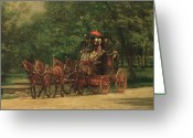 Carriage Team Greeting Cards - The Fairman Rogers Coach and Four Greeting Card by Thomas Cowperthwait Eakins