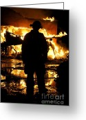 Fire Houses Greeting Cards - The Fireman Greeting Card by Benanne Stiens