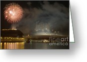 Pyrotechnics Greeting Cards - The firework Greeting Card by Odon Czintos