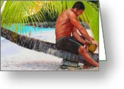 Virgin Islands Painting Greeting Cards - The Gatherer Greeting Card by Denny Bond