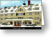 Ski Art Painting Greeting Cards - The Golden Eagle Lodge Greeting Card by Tina Zachary