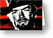 Clint Greeting Cards - The Good The Bad and The Ugly Greeting Card by Luis Ludzska