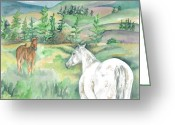 Equine Watercolor Portrait Greeting Cards - The Guardian Greeting Card by Kimberly Lavelle