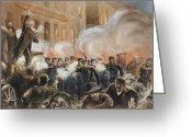 Mob Greeting Cards - The Haymarket Riot, 1886 Greeting Card by Granger