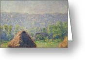 Ete Greeting Cards - The Haystacks Greeting Card by Claude Monet