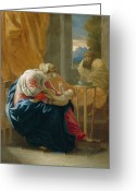 Neo-classical Greeting Cards - The Holy Family Greeting Card by Nicolas Poussin