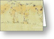 Gold Lame Painting Greeting Cards - The horse Greeting Card by Odon Czintos