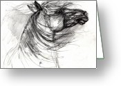 Wild Horse Drawings Greeting Cards - The Horse Sketch Greeting Card by Angel  Tarantella