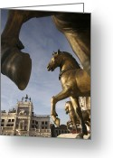 Iconic Architecture Greeting Cards - The Horses On The Basilica San Marcos Greeting Card by Jim Richardson