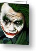 Batman Greeting Cards - The Joker  Greeting Card by Roly D Orihuela