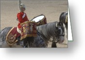 Helmet Greeting Cards - The Kettledrums Of Household Cavalry Greeting Card by Andrew Chittock