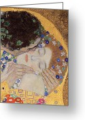 Leaf Painting Greeting Cards - The Kiss Greeting Card by Gustav Klimt