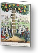 Betting Greeting Cards - The Ladder of Fortune Greeting Card by Currier and Ives