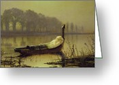 Still Water Greeting Cards - The Lady of Shalott Greeting Card by John Atkinson Grimshaw