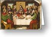 Great Painting Greeting Cards - The Last Supper Greeting Card by Master of Portillo