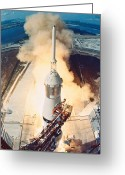 Taking Off Greeting Cards - The Launch Of A Space Rocket Greeting Card by Stockbyte
