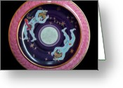 Surrealism Ceramics Greeting Cards - The light blue Moon. Greeting Card by Vladimir Shipelyov