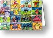 Rainbows Greeting Cards - The Little Houses Greeting Card by Mindy Newman