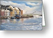 West Pastels Greeting Cards - The Long Walk Galway Greeting Card by Vanda Luddy