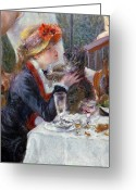 Pierre Auguste (1841-1919) Greeting Cards - The Luncheon of the Boating Party Greeting Card by Pierre Auguste Renoir