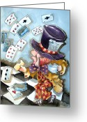 Teacup Greeting Cards - The Mad Hatter Greeting Card by Lucia Stewart