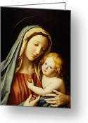 Virgin Maria Greeting Cards - The Madonna and Child Greeting Card by Il Sassoferrato