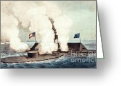Merrimac Greeting Cards - The Monitor And The Merrimac, 1862 Greeting Card by Photo Researchers