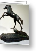 Horse Sculpture Greeting Cards - The Moonhorse Bronze  Greeting Card by Dawn Senior-Trask