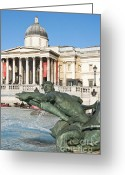 Trafalgar Greeting Cards - The National Gallery  Greeting Card by Andrew  Michael