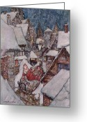 Rackham Greeting Cards - The Night Before Christmas Greeting Card by Arthur Rackham