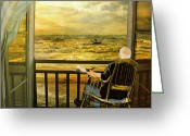 Old Man Fishing Greeting Cards - The old man and the sea Greeting Card by Anne Weirich