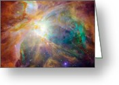 H Ii Regions Greeting Cards - The Orion Nebula Greeting Card by Stocktrek Images