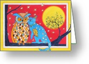 Blue Cat Greeting Cards - The Owl and the Pussycat Greeting Card by Renata Wright