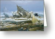 Snow Scenes Greeting Cards - The Polar Sea Greeting Card by Caspar David Friedrich