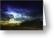Barn Art Digital Art Greeting Cards - The Power of a Storm in Formation Greeting Card by Byron Fli Walker