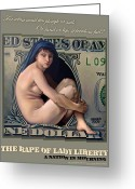 Politics Greeting Cards - The Rape of Lady Liberty Greeting Card by Patrick Anthony Pierson
