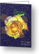 Gold Lame Painting Greeting Cards - The rose Greeting Card by Odon Czintos