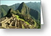 Structure Photo Greeting Cards - The Ruins Of Machu Picchu, Peru, Latin America Greeting Card by Brian Caissie