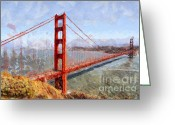 Cityscape Digital Art Greeting Cards - The San Francisco Golden Gate Bridge . 7D14507 Greeting Card by Wingsdomain Art and Photography