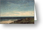 Sunlight Painting Greeting Cards - The Sea Greeting Card by Gustave Courbet
