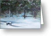 Pine Trees Painting Greeting Cards - The Season Has Changed Greeting Card by Chris Wing