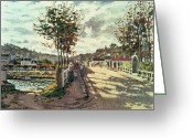 Tree-lined Greeting Cards - The Seine at Bougival Greeting Card by Claude Monet