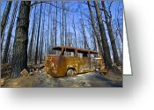 Devastation Greeting Cards - The Shell Of A Burnt Out Car Rests Greeting Card by Jason Edwards