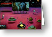 Flying Saucer Greeting Cards - The Sighting At The Neptune Fly In Greeting Card by Leah Saulnier The Painting Maniac